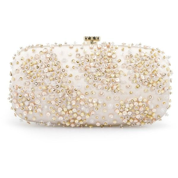 Oscar de la Renta Ivory & Champagne Embroidered Satin Goa ($1,475) ❤ liked on Polyvore featuring bags, handbags, clutches, oscar de la renta, champagne clutches, bridal evening bags, ivory bridal purse, ivory evening bag and evening bags