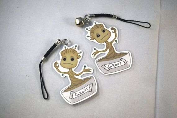Dancing Baby Groot Keychain Cell Phone Charm by CraftofImagination, $1.99