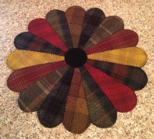 Primitive Wool Penny Rugs Dresden Plate Jar Candle Mat Table Centerpiece HM | eBay started @ $58.  Seller rosemarie0506- love her items!!!