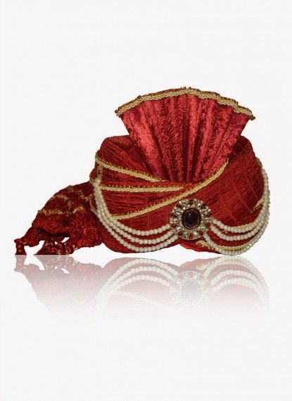 Royal Carnelian Red Dupion silk Turban