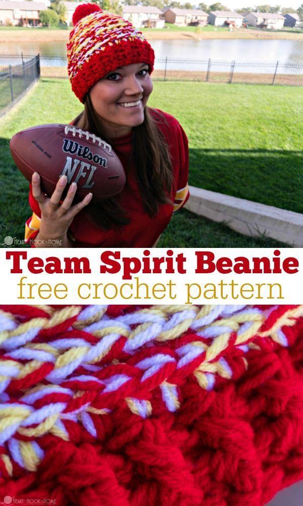 Team Spirit Beanie Free Crochet Pattern