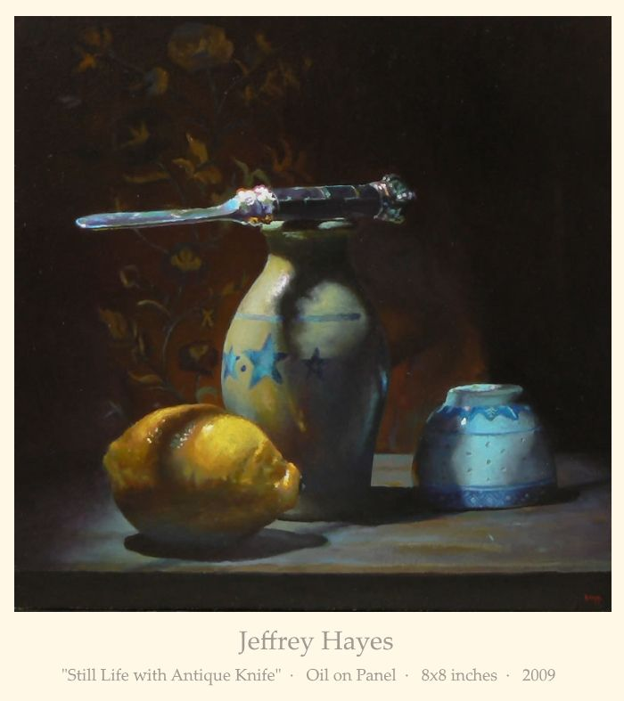 """Jeffrey Hayes: """"Still Life with Antique Knife""""  ·   Oil on Panel  ·   8x8 inches  ·   2009"""