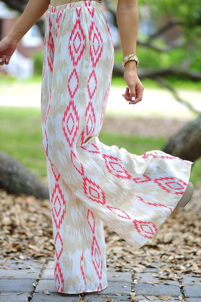 Cute In Ikat Pants: Tan/Coral make out of maxi dress