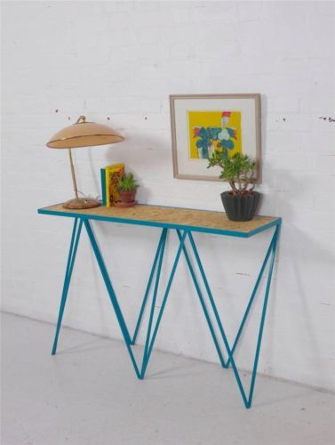 Slim Sculptural Turquoise Steel Industrial Console Table Sideboard Mid Century