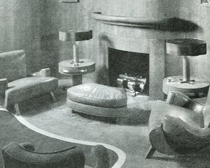 From A Book Of Home Plans Circa Notice The Curved Lines Fireplace Find This Pin And More On Art Deco Interior