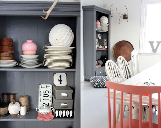 This peachy pink, grey and white look is gorgeous!