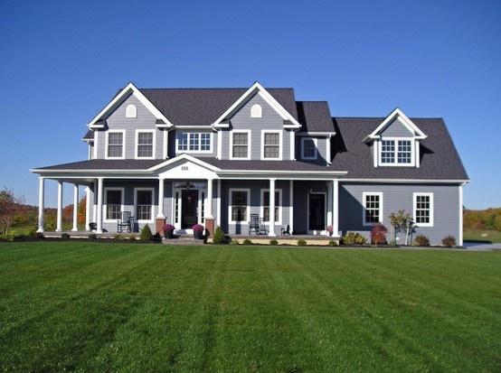 Gray Exterior Farmhouse Wraparound Porch Modern