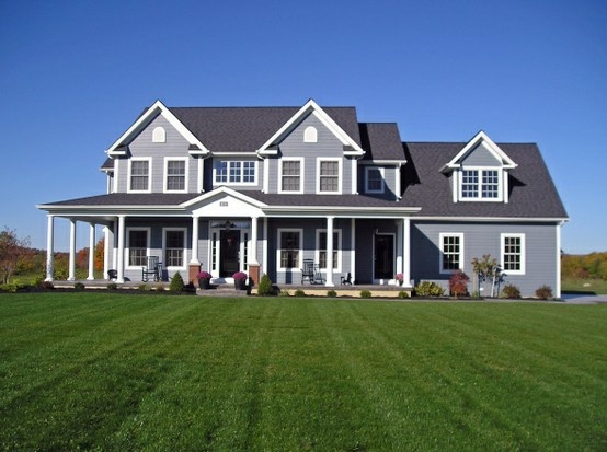 Gray exterior farmhouse wraparound porch abode love for Exterior home design ideas siding