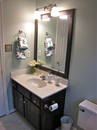 We want to figure out how to frame our bathroom mirror: Bathroom Mirrors, Simple Mirror, Powder Bath, Bathroom Ideas, Bath Re Do