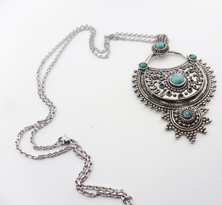 """Antique Silver Turquoise Pendant X large (74mmx51mm) on a 30"""" Lo"""