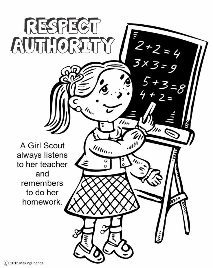 Girl Scouts Respect Authority. Print all the pages to make a coloring book to help learn the Girl Scout Law. Go onto MakingFriends.com to print them all!