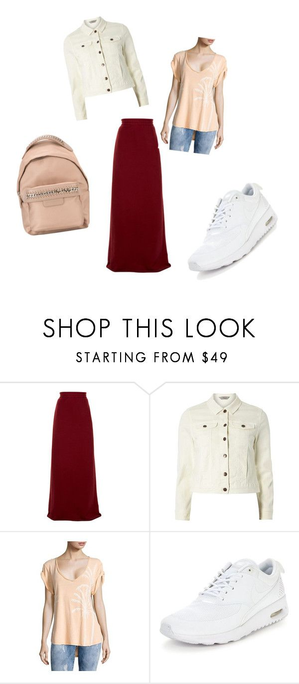 """бордовая юбка с джинсовые пиджаком"" by natalya-kuchaeva on Polyvore featuring Vetements, Dorothy Perkins, Free People, NIKE and STELLA McCARTNEY"