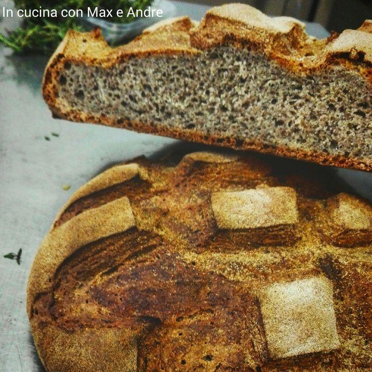 Ingredienti per 6 persone:   200 g di farina tipo 2  100 g farina Manitoba  200 g di farina di grano saraceno  10 g di lievito di birra  350 ml di acqua  1 cucchiaino raso di sale  50 g di olio EVO  Miscelate le farine. In una terrina fate sciogliere il lievito con metà dell'acq