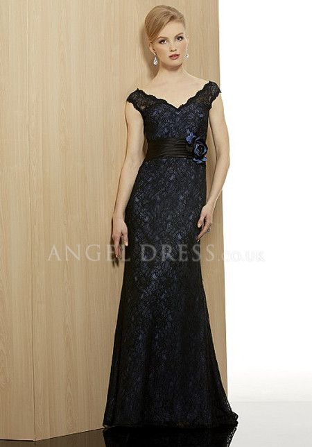 Splendid Lace Floor Length V Neck Wedding Guest Dress With Sash/ Ribbon