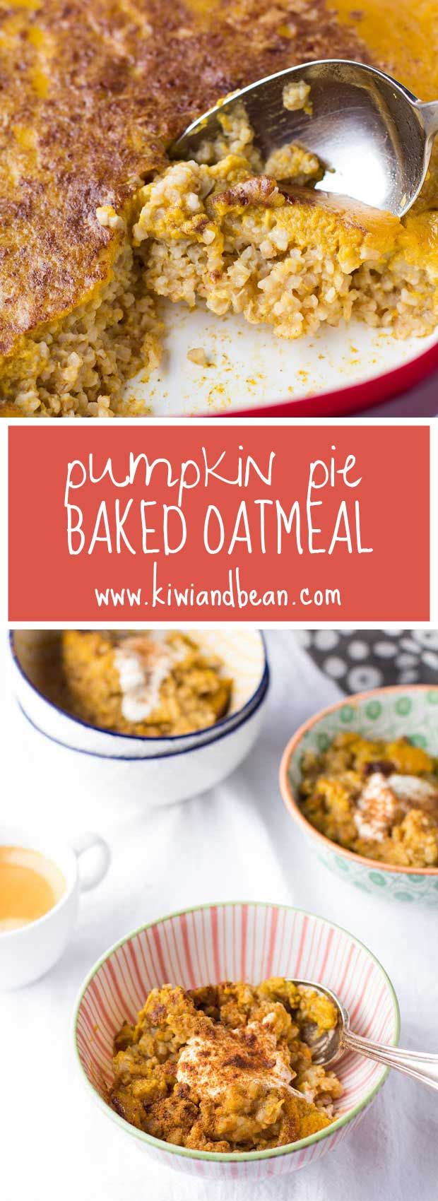 Wake up to the wafting aroma of pumpkin spice! This baked steel cut oatmeal is topped with a layer of pumpkin custard that looks and tastes just like pumpkin pie!