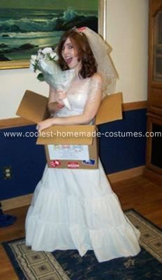 Homemade Mail Order Bride Costume: I went as a mail order bride last Halloween, my costume only cost like $35. I borrowed the dress from my boyfriend's parents who have a huge collection