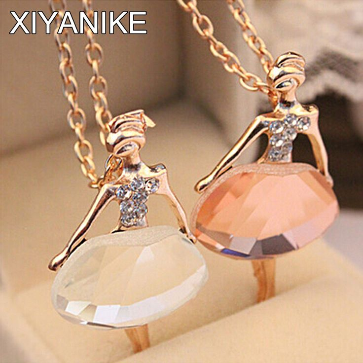 Gold Plated Sweater Chain Shiny Crystal Ballet Girl Pendant Necklace Statement Long Necklaces Jewelry For Women XY-N523