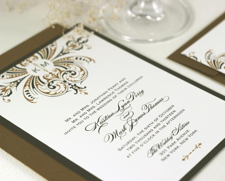 Art Deco Wedding Invitations Gold Monogram Sample 2 50 Via Etsy