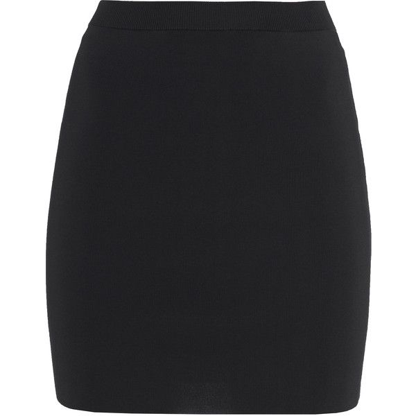T BY ALEXANDER WANG Fitted Pencil Black Stretch mini skirt found on Polyvore