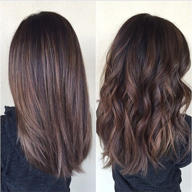 Medium Hair Styles - Chocolate brown hair with balayage, medium-length. Shown straight and curly.