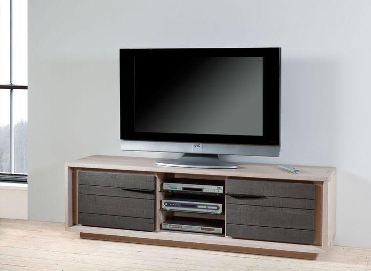 Meuble TV en chªne massif et céramique 2 portes 1 niche D autres teintes sont disponibles me chªne blanchi naturel etc Rendez vous sur …