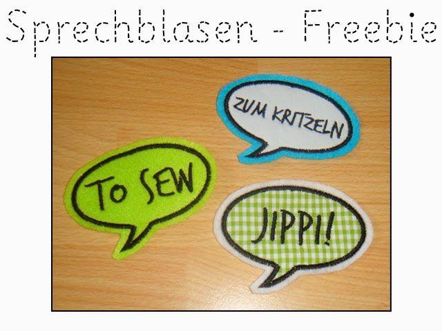 4 Sprechblasen-Applis in 75mm Breite. 3 beschriftete Sprechblasen und 1 leere Sprechblase zum selbst beschriften. DOWNLOAD  Viel Spaß! Kai Anja