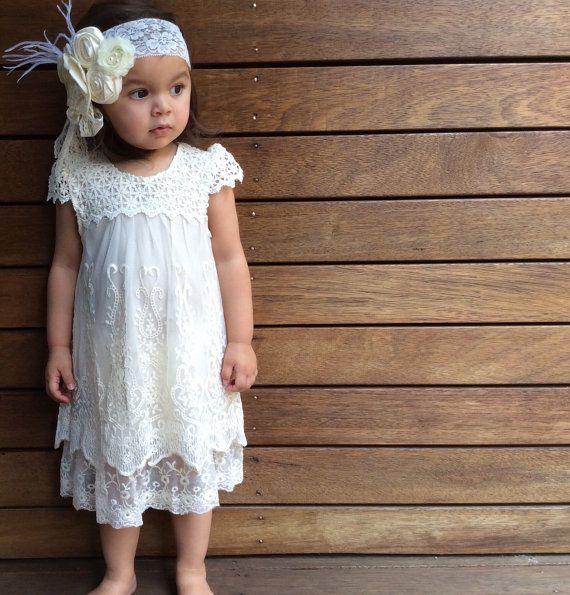 Girls Ivory Lace Dress. Christening Dress. by LilTreasuresAust