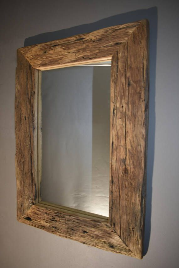 Reclaimed Wood Upcycled Rustic Weathered Oak Frame Mirror Reclaimed Wood Mirror Wooden Mirror Frame Rustic Wood Frame