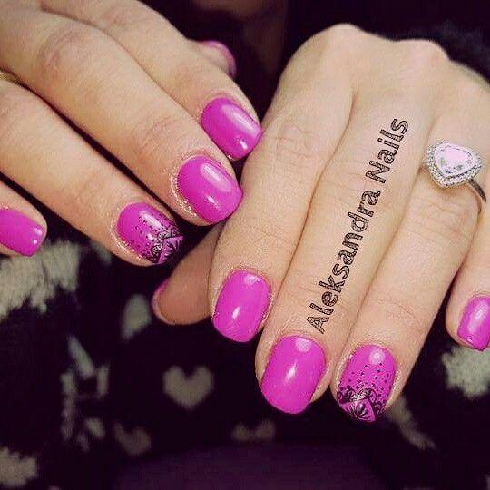 New nails #nailart #nails #gel #unghiemania #unghiegel #fucsia #ring #heart #pandora