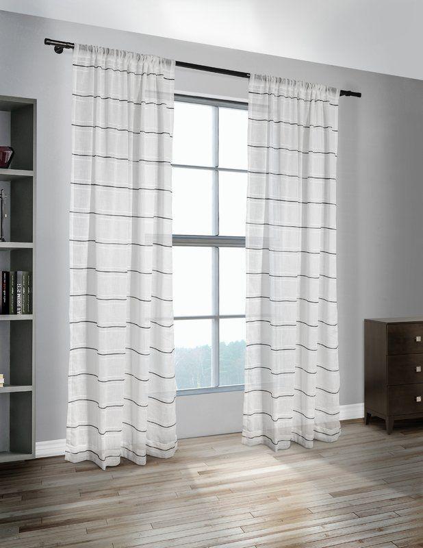 Nicolette Striped Sheer Rod Pocket Curtain Panels