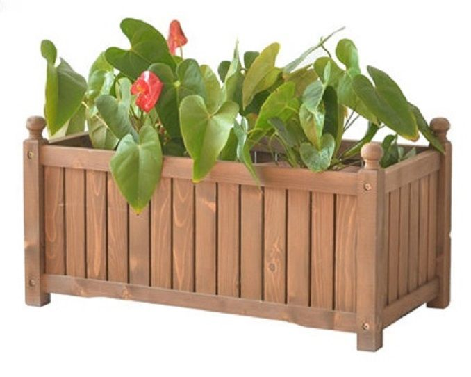 New Rectangle Wood Planter Box Garden Fir Wpb028n Flower Garden Garden Planter Boxes Garden Boxes Wood Planter Box