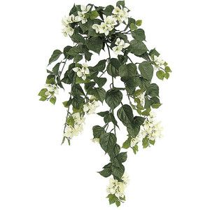 """Artificial CHRISTMAS Trees, Artificial Palm Trees, Artificial Plants and Trees - A-1024 36"""" Polyblend Bougainvillea Bush - 174 Leaves - 18 Flower Clusters - 19"""" Width - Cream"""
