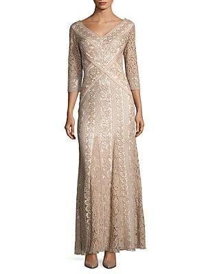 425d9e7f105 Tadashi Shoji Lace Godet Dress