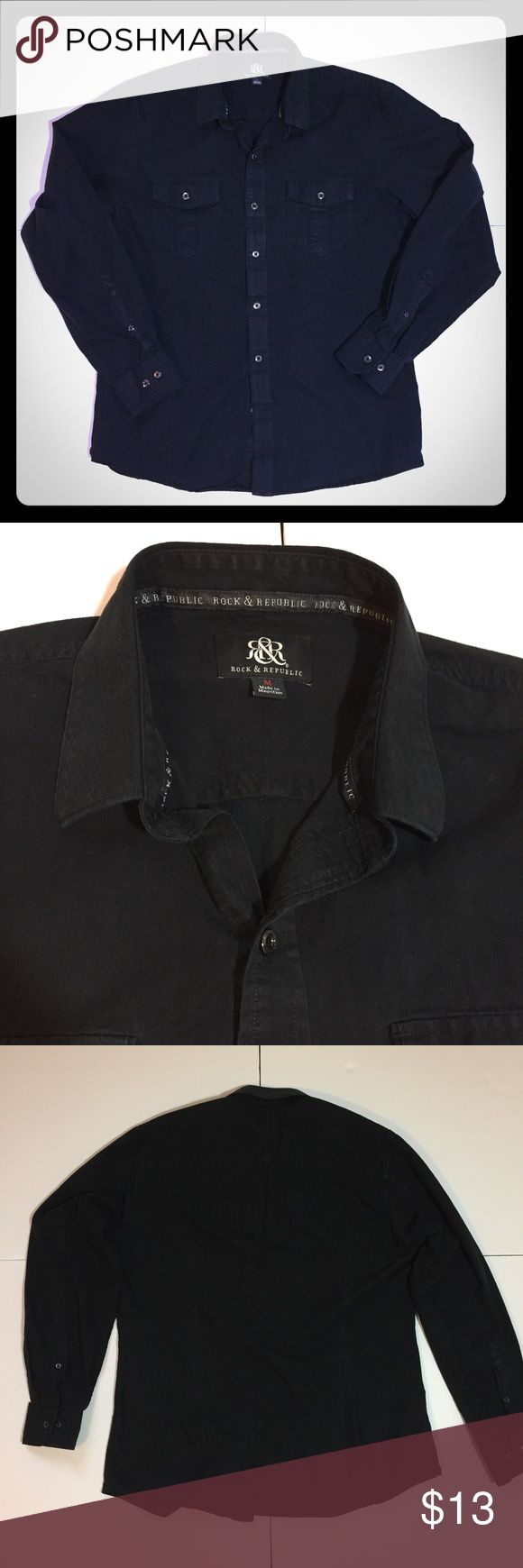 "Rock& Republic Black Button Down Shirt Rock& Republic Black Button Down Shirt. Size M measures: 18"" across shoulders, 23"" across chest, 28"" long, 24"" sleeve. 100% cotton. 311/25/040717 Rock & Republic Shirts Casual Button Down Shirts"