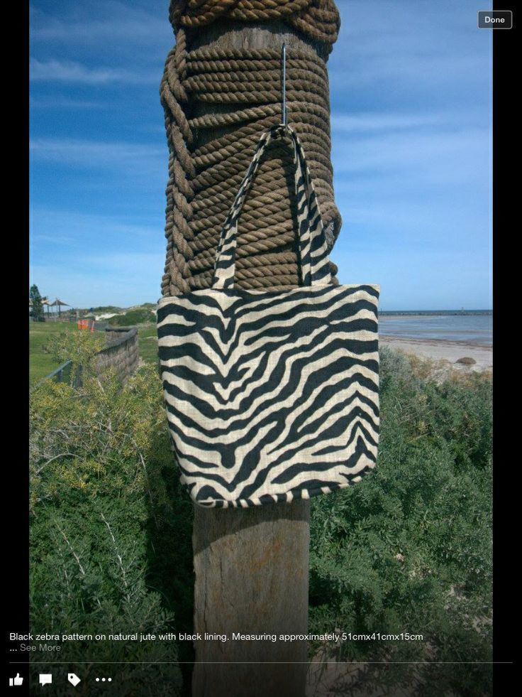 Jute bag - Zebra Handmade black on natural jute with black lining, complete with two internal pockets.  Approx 51x41x15cm  $30.00 each