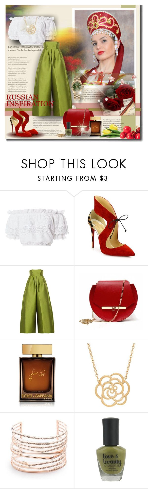 """RUSSIAN INSPIRATION"" by angelflair ❤ liked on Polyvore featuring Vila Milano, LoveShackFancy, Christian Louboutin, ESPRIT, Merchant Archive, Angela Valentine Handbags, Dolce&Gabbana, Lord & Taylor, Alexis Bittar and Forever 21"