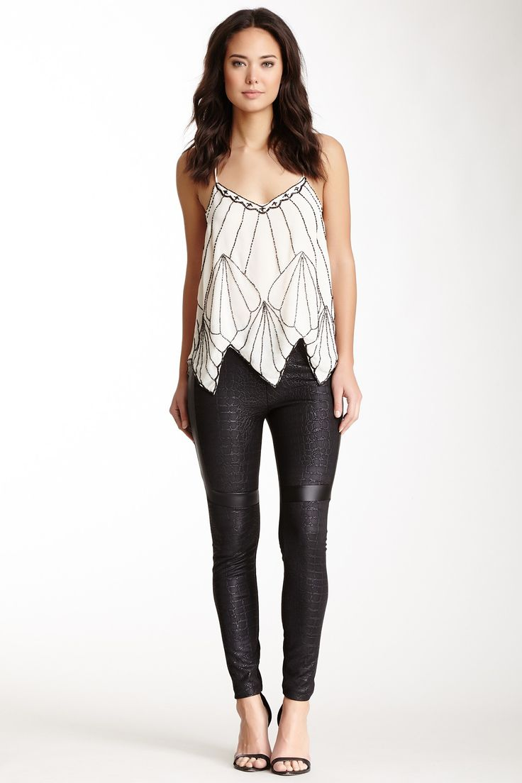 Embellished Cami and Textured Faux Leather Pants