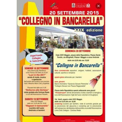 Domenica 20 Settembre potete trovarci a Collegno  (siamo posizionati in piazza della Repubblica davanti il chiosco)