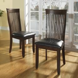 @Overstock.com - Winsford Burnished Cherry High Back Transitional Dining Chair (Set of 2) - Perfect for use in the dining room and lovely when used as occasional chairs, this set of two Winsford side chairs is superbly stylish. Featuring a beautiful cherry finish and easy-care vinyl upholstery, these classic chairs offer endless appeal.  http://www.overstock.com/Home-Garden/Winsford-Burnished-Cherry-High-Back-Transitional-Dining-Chair-Set-of-2/6748806/product.html?CID=214117 $161.99
