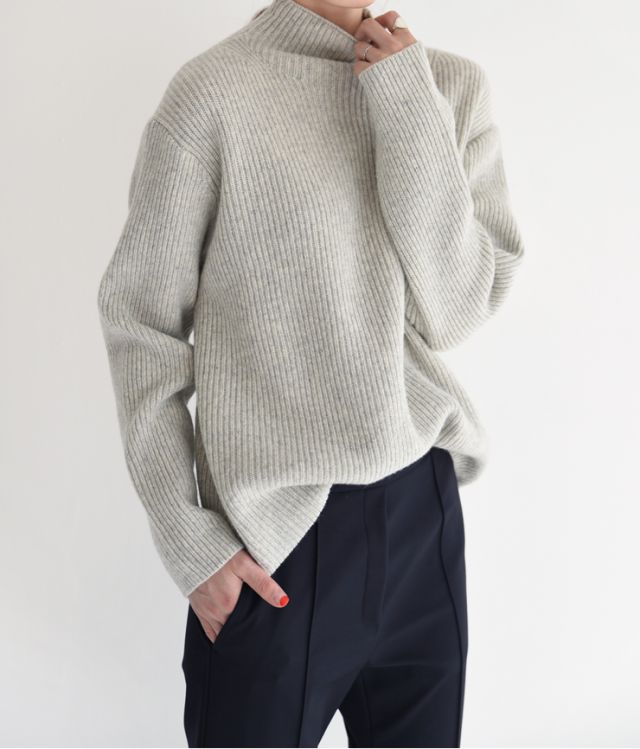 Gray polo neck sweater