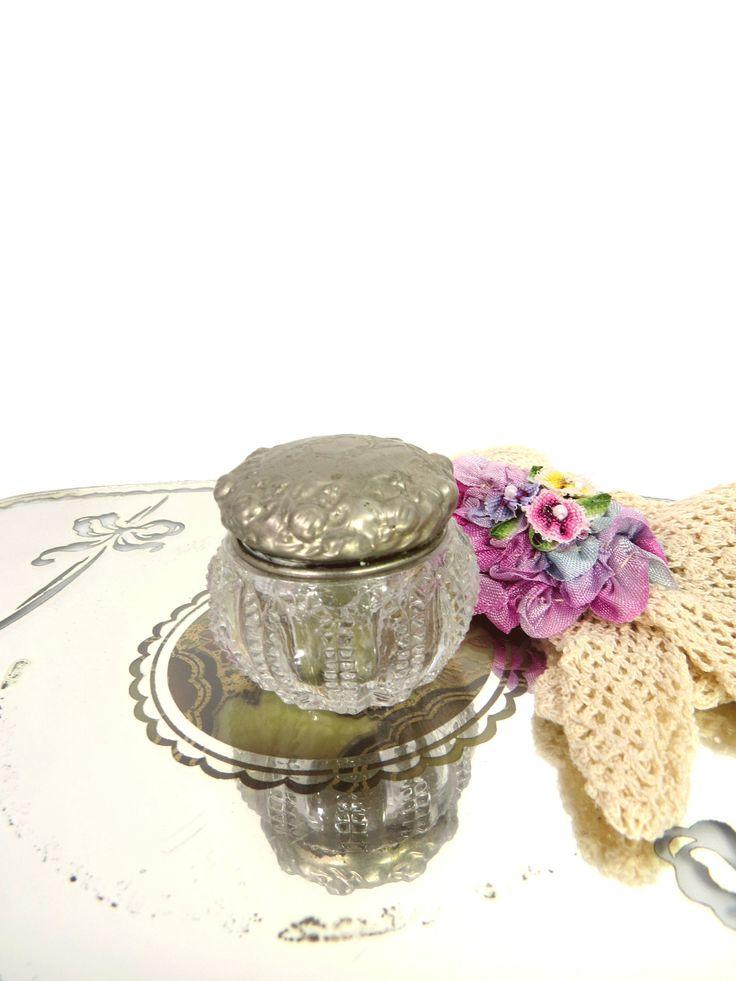 Vintage Cut Glass Rouge Pot Vanity Jar Silver Plate Lid Blank Monogram Space by UrbanRenewalDesigns on Etsy