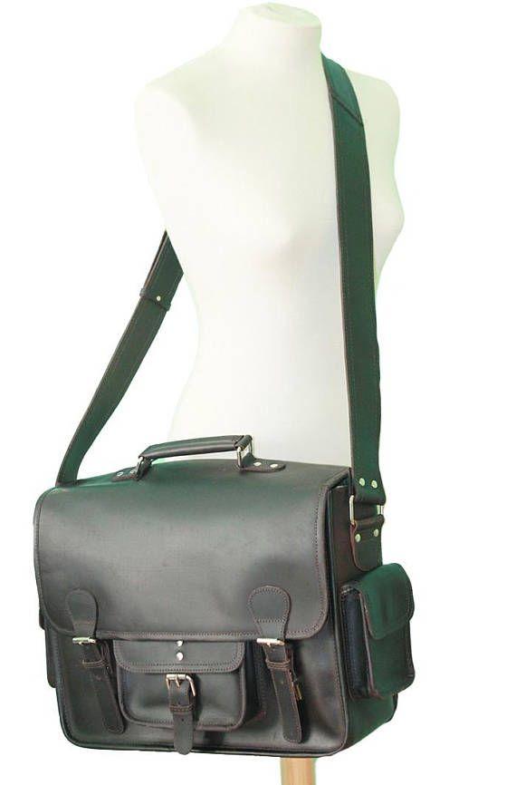 16 Dark Brown Leather Messenger bag for Men/ Leather  #etsy #leather #vintage #briefcase #mens #womens #messengerbag #bags #backpack