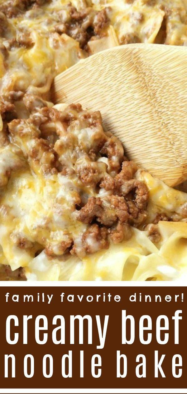 Creamy Beef Noodle Bake   Dinner Recipe   Ground Beef Recipes   Tender egg noodl…