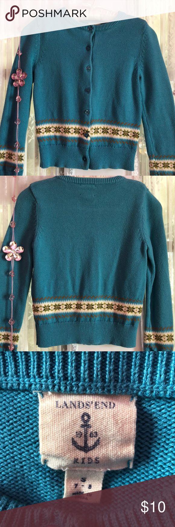 Lands End Kids Cardigan Lands End Kids button down Cardigan 100% cotton size 7/8 Lands' End Shirts & Tops Sweaters