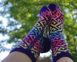 Socks are knit from the top down. Pattern is written for 5 double-pointed needles, but you can of course use any type of needles you prefer.