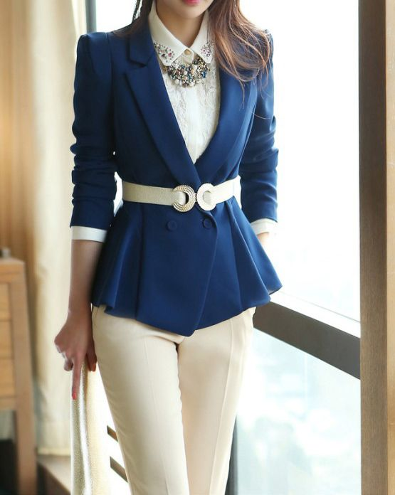 Wholesale Tailored Collar Long Sleeves Casual Style Solid Color Polyester Women's Blazer Only $16.63 Drop Shipping | TrendsGal.com