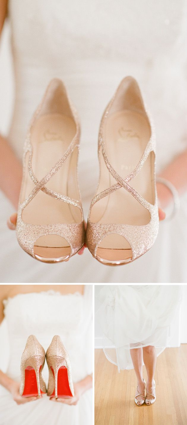 Gold Louboutin Shoes for wedding