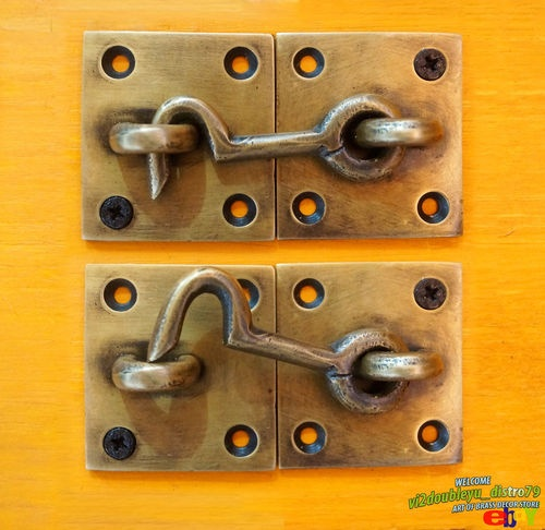 Lot of 2 pcs Antique Vintage SOLID BRASS Door LATCH Key Hook , Just I @ eBay $9.90 I unused and GREAT GIFT for your home decor. #latch #lock #Brass #Antique #Vintage #Home_decor