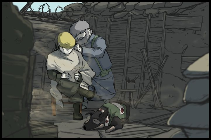 A Haircut in the Trenches: here's some Valiant Hearts fan art with the characters Emile, Karl and their canine companion. Thanks, Rengin Tümer, for this depiction of daily life in the trenches!