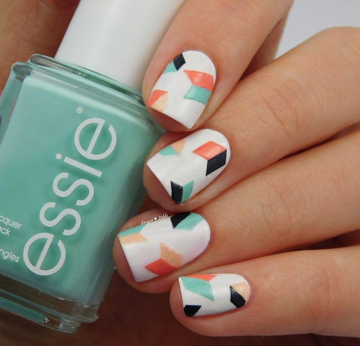 Essie Geometric Nail Art #nails #beautyinthebag #nailart #naildesign #mani #geometric #graphic